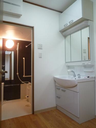 洗面台は風呂入口前
